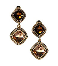 Napier® Goldtone & Multi Colored Brown Peach Double Drop Clip Earrings