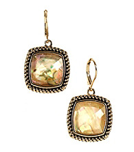 Napier® Goldtone & Multi Colored Brown Peach Leverback Drop Earrings
