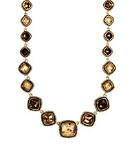 Napier® Goldtone Multi Colored Brown Peach Collar Necklace
