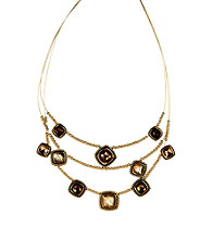 Napier® Goldtone Multi Colored Brown Peach Illusion Necklace