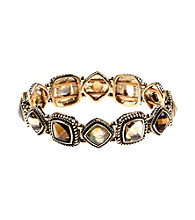 Napier® Goldtone Multi Colored Brown Peach Stretch Bracelet