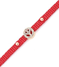 BCBGeneration™ Red Canvas and Rose Goldtone Peace Mini Bracelet