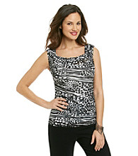 Relativity® Career Asymmetrical Pleat-Shoulder Mesh Top