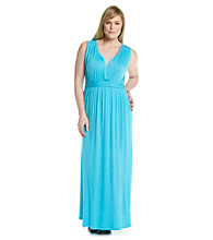 Relativity® Plus Size Solid Empire Braided Maxi Dress