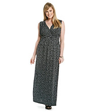 Relativity® Plus Size Printed Empire Braided Maxi Dress