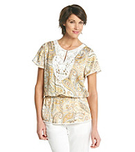Alfred Dunner® Key Hole Neck Paisley with Lace Yoke Peplum Top