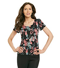 Notations® Scoop Neckline All Over Floral Print Top