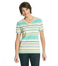 Breckenridge® V-Neck Embellished Stripe Tee