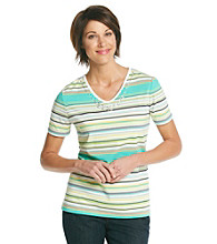 Breckenridge® Petites' V-Neck Embellished Stripe Tee