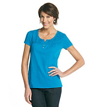 Studio Works® Lace Yoke Split Henley Top