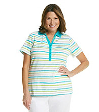 Studio Works® Plus Size Striped Polo