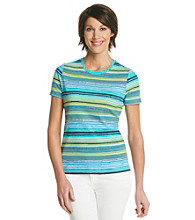 Studio Works® Petites' Striped Printed Crew