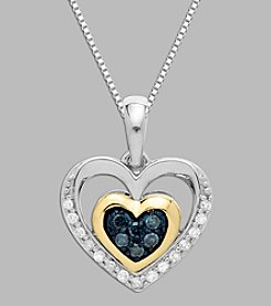 .16 ct. t.w. Diamond Heart Pendant in Sterling Silver