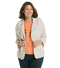 Studio Works® Plus Size Four Pocket Linen Blazer