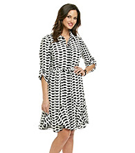 AGB® Black White Geo Printed Shirt Dress