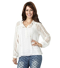 Democracy Sheer Tie Front Blouse