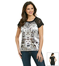 Oneworld® Crochet Sleeve Satin-Front Tee