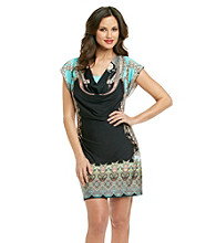 Oneworld® Paisley Drapeneck Short Dress