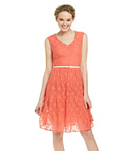 Fever™ Belted Lace Dress with Tiered Skirt