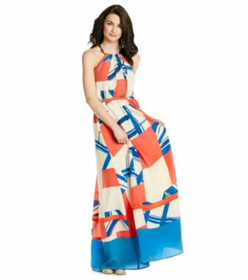 Jessica simpson print chiffon halter maxi dress