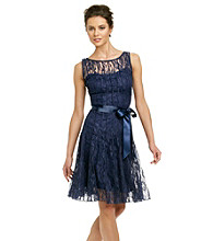Xscape Lace Dress with Ribbon