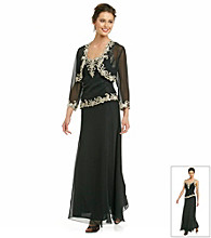 J Kara® Long Beaded Dress with Jacket