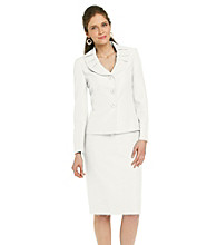 Le Suit Plus Size Shawl Collar Jacket with Skirt
