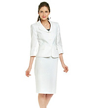 Le Suit® Jacquard Notch Collar Jacket with Skirt
