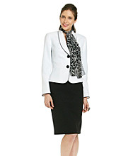 Le Suit® Plus Size Piped Shawl Collar Jacket with Skirt