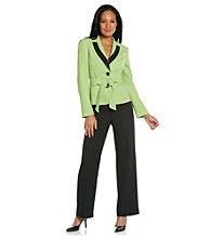 Le Suit® Plus Size Inset Waist Jacket and Pant Suit