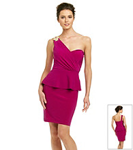 Xscape Pretzel Jewel One Shoulder Peplum Dress