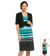 R & M Richards® Stripe Knit Dress with Jacket