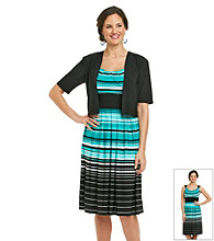 R & M Richards® Petites' Striped Dress with Jacket
