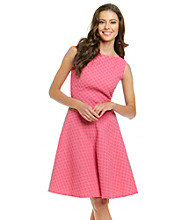 Evan-Picone® Collection Basketweave Dot Dress with Flare Skirt