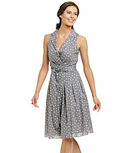 Evan-Picone® Dot Print Faux Wrap Dress