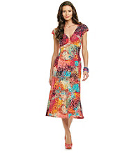 Evan-Picone® Confetti Print Surplice Dress