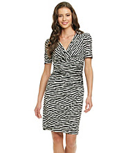 Evan-Picone® Stripe Surplice Knit Dress