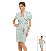 R & M Richards® Lace Dress with Solid Bolero Jacket