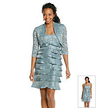 R&M Richards® Petites' Lace Shutter Jacket Dress