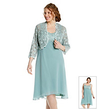 R&M Richards® Plus Size Sheer Lace Jacket Dress