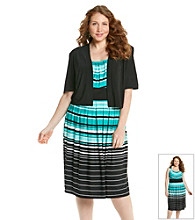 R&M Richards® Plus Size Stripe Knit Dress with Jacket