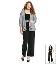 Perceptions Plus Size Striped Pant Set