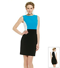 Calvin Klein Petites' Sleeveless Colorblock Shift Dress