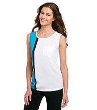 Calvin Klein Petites' Colorblock Sleeveless Woven Top