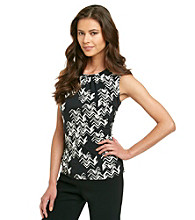 Calvin Klein Petites' Sleeveless Printed Pleat Neck Top
