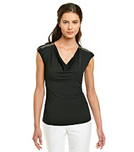 Calvin Klein Petites' Sleeveless Drapeneck Top with Shoulder Zippers