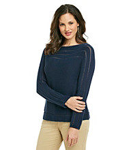 Jones New York Signature® Petites' Long Sleeve Boatneck Pullover Sweater