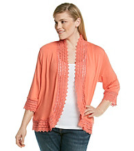 Fever™ Plus Size Lace Trim Cardigan