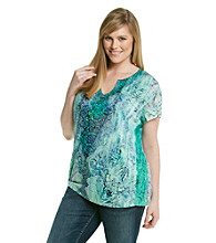 Oneworld® Plus Size Short Sleeve Split Neck Tee with Lace Sides