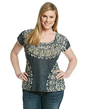 Oneworld® Plus Size Short Sleeve Printed Rain Wash Tee
